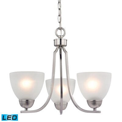 Burzdak 3-Light Mini Chandelier Finish: Brushed Nickel