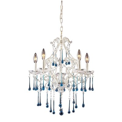 Driffield Traditional 5-Light Crystal Chandelier Crystal Color: Amber, Finish: Antique White