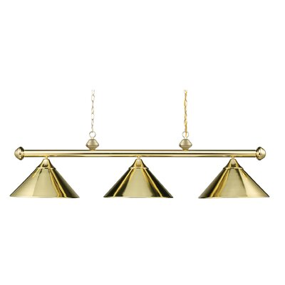 Jarrett 3-Light Kitchen Island Pendant Finish: Polished Brass