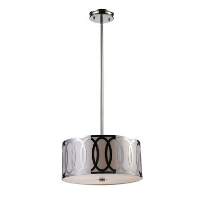 Kohn 3-Light Drum Pendant Bulb Type: Halogen