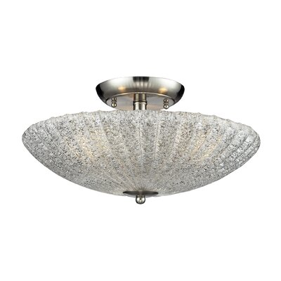 3-Light Semi Flush Finish: Satin Nickel