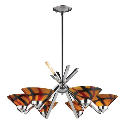 Vuelta 6-Light Semi Flush Mount Glass Finish: Polished Chrome with Jasper Glass