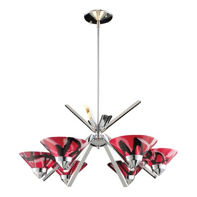 Vuelta 6-Light Semi Flush Mount Glass Finish: Polished Chrome with Mars Glass
