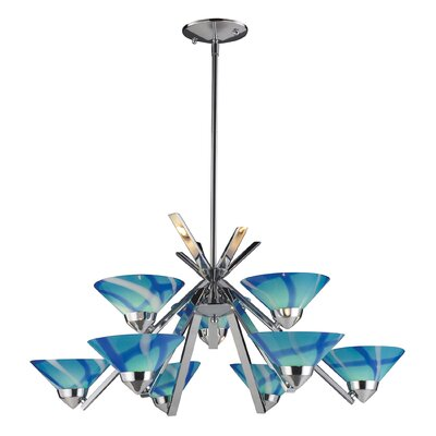 Klingbeil 9-Light Shaded Chandelier Glass Finish: Polished Chrome with Carribean Glass