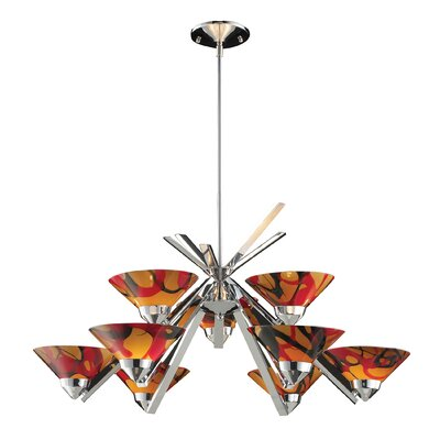 9-Light Shaded Chandelier Glass Finish: Polished Chrome with Jasper Glass