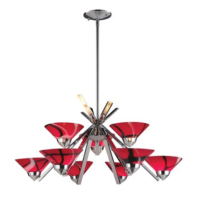 Klingbeil 9-Light Shaded Chandelier Glass Finish: Polished Chrome with Mars Glass