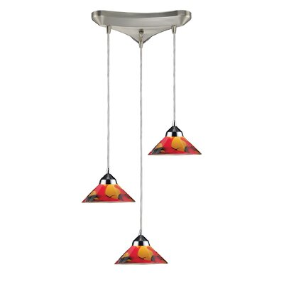 Vuelta 3-Light Pendant Glass Finish: Polished Chrome with Jasper Glass