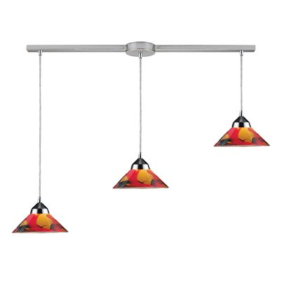 Sharpe 3-Light Linear Pendant Glass Type: Jasper