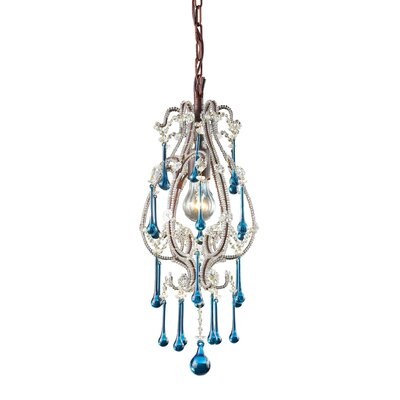 Driffield 1-Light Pendant Crystals: Aqua