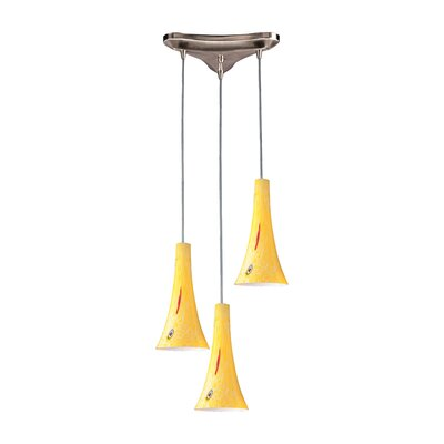 Tromba 3-Light Pendant Glass Type: Yellow Blaze