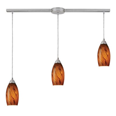 Galaxy 3-Light Linear Pendant Glass Finish: Brown and Satin Nickel