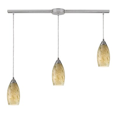 Galaxy 3-Light Linear Pendant Glass Finish: Creamy Mint and Satin Nickel