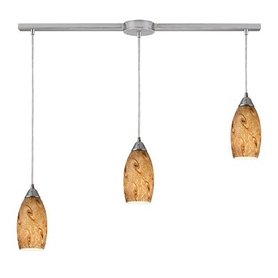 Galaxy 3-Light Linear Pendant Glass Finish: Misty Lavender and Satin Nickel