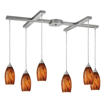 Galaxy 6-Light Pendant Glass Finish: Brown and Satin Nickel