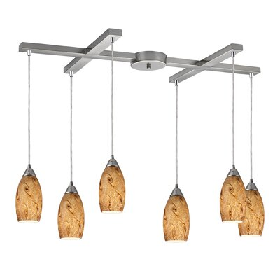Panek 6-Light Pendant Glass Finish: Misty Lavender and Satin Nickel