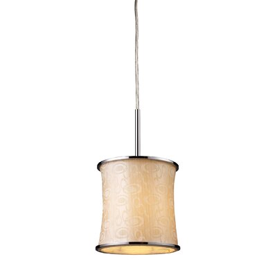 Michalak 1-Light Drum Pendant Glass Finish: Polished Chrome and Retro Beige