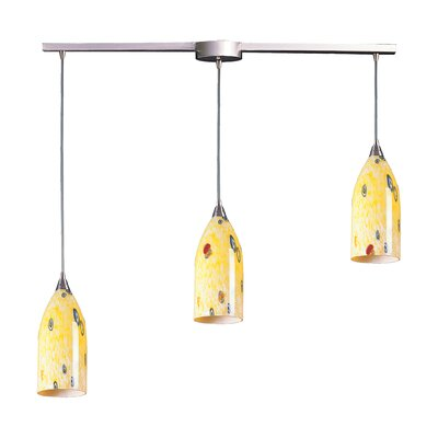 Leakey 3-Light Linear Pendant Glass Type: Yellow Blaze