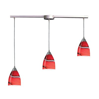 Frostia 3-Light Linear Pendant Glass Type: Candy