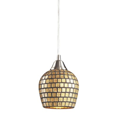Roehampton Three Forks 1-Light Mini Pendant Finish: Satin Nickel and Gold Mosaic Glass
