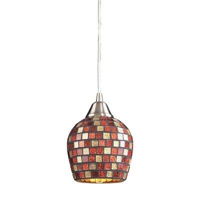 Roehampton Three Forks 1-Light Mini Pendant Finish: Satin Nickel and Multi Mosaic Glass