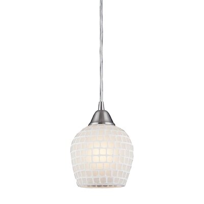 Roehampton Three Forks 1-Light Mini Pendant Finish: Satin Nickel and White Mosaic Glass