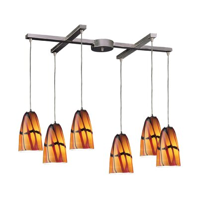 Fuego 6-Light Pendant Glass Type: Jasper