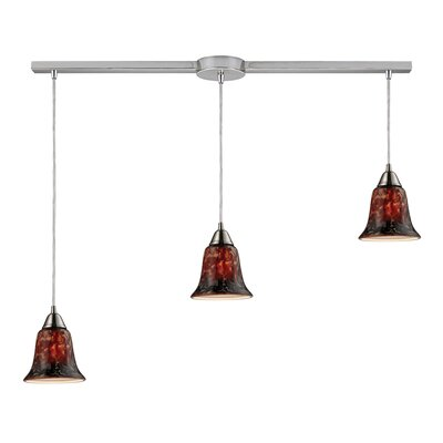 Cayton 3-Light Linear Pendant Glass Finish: Fudge