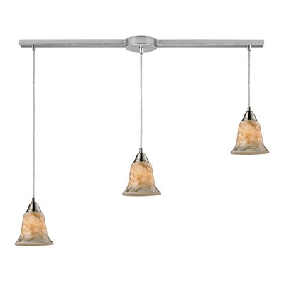 3-Light Linear Pendant Glass Finish: Nougat