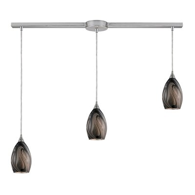 Vuelta 3-Light Linear Pendant Glass Finish: Ashflow