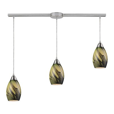 Vuelta 3-Light Linear Pendant Glass Finish: Planetary