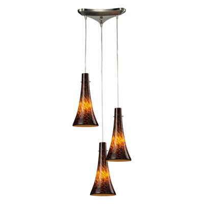 Tromba 3-Light Pendant Glass Type: Espresso