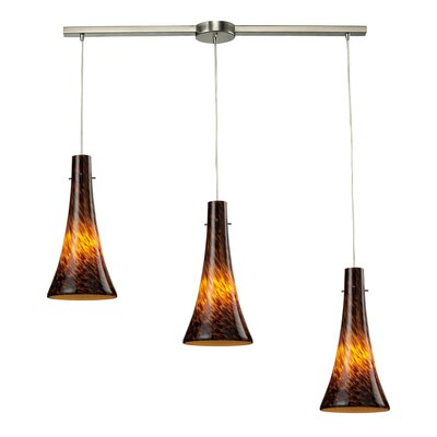 Furniture-Tromba 3 Light Linear Pendant Glass Type Espresso