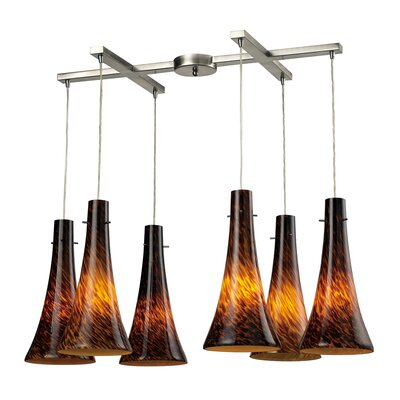 Tromba 6-Light Pendant Glass Type: Espresso