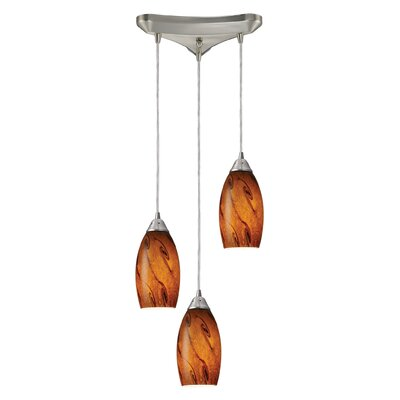 Galaxy 3-Light Pendant Glass Shade: Brown and Satin Nickel