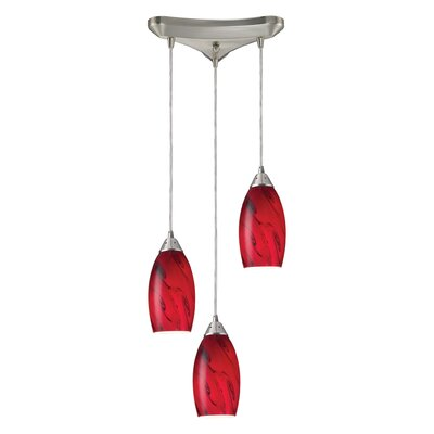 Panek 3-Light Pendant Glass Shade: Red and Satin Nickel
