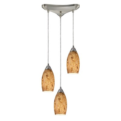 Panek 3-Light Pendant Glass Shade: Misty Lavender and Satin Nickel