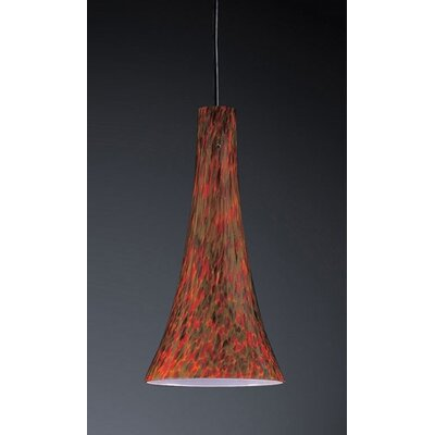 Tromba 1-Light Mini Pendant Finish: Satin Nickel and Fire Red Glass