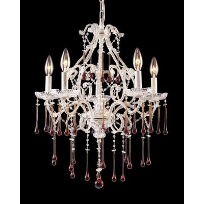 Opulence 5-Light Crystal Chandelier Finish: Antique White, Crystal Color: Light Mist