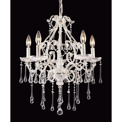 Opulence 5-Light Crystal Chandelier Finish: Antique White, Crystal Color: Clear