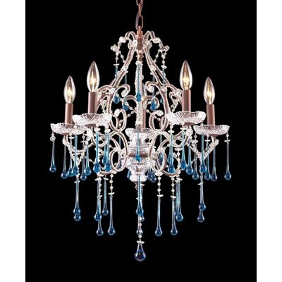 Opulence 5-Light Crystal Chandelier Finish: Rust, Crystal Color: Antique