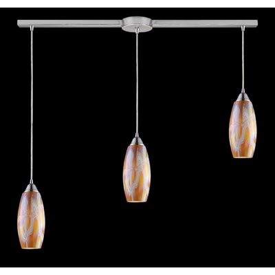 Iridescence 3-Light Linear Pendant Finish: Golden