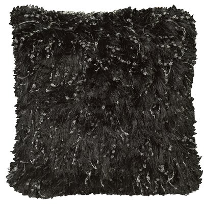 Urban Loft Shiny Shag Throw Pillow Color: Black