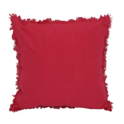 Urban Loft Fringe Throw Pillow Color: Red