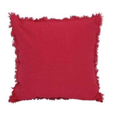 Urban Loft Fringe Throw Pillow Color: Red