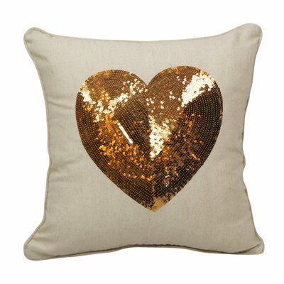 Emma and Violet Sequin Heart Throw Pillow Color: Gold