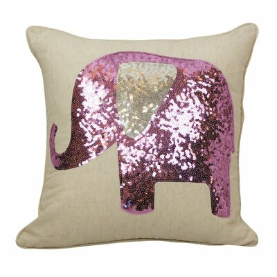 Emma and Violet Sequin Elephant Throw Pillow Color: Lilac