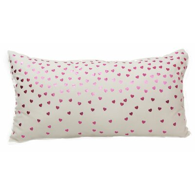 Emma and Violet Foil Hearts Lumbar Pillow Color: Pink