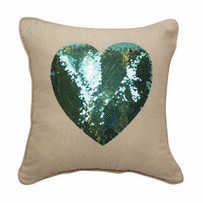 Emma and Violet Sequin Heart Throw Pillow Color: Teal