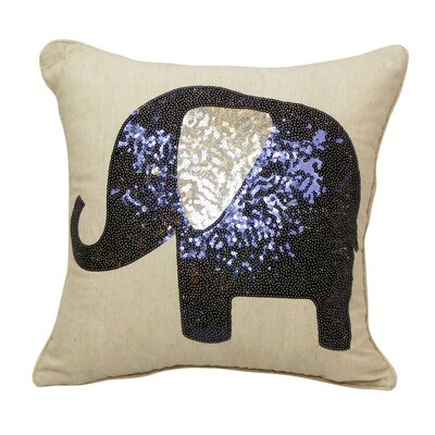 Emma and Violet Sequin Elephant Throw Pillow Color: Charcoal