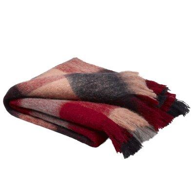 Burta Mohair Plaid Red Check Throw Blanket 50 X 60